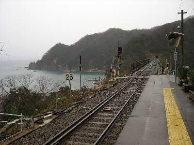 餘部駅ホームから見た余部鉄橋